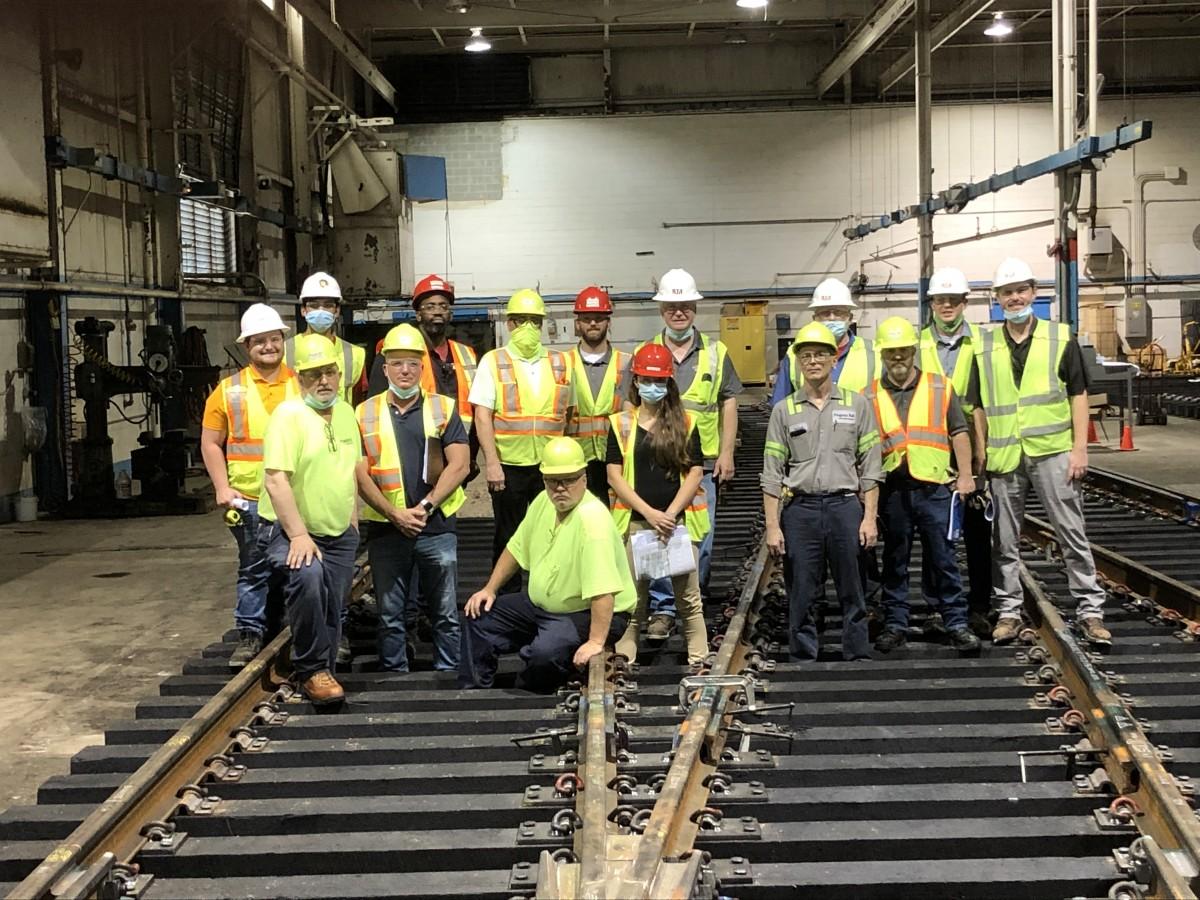 GCRTA Engineering, RailWorks, and Progress Rail inspecting the new East 116th Street Crossover