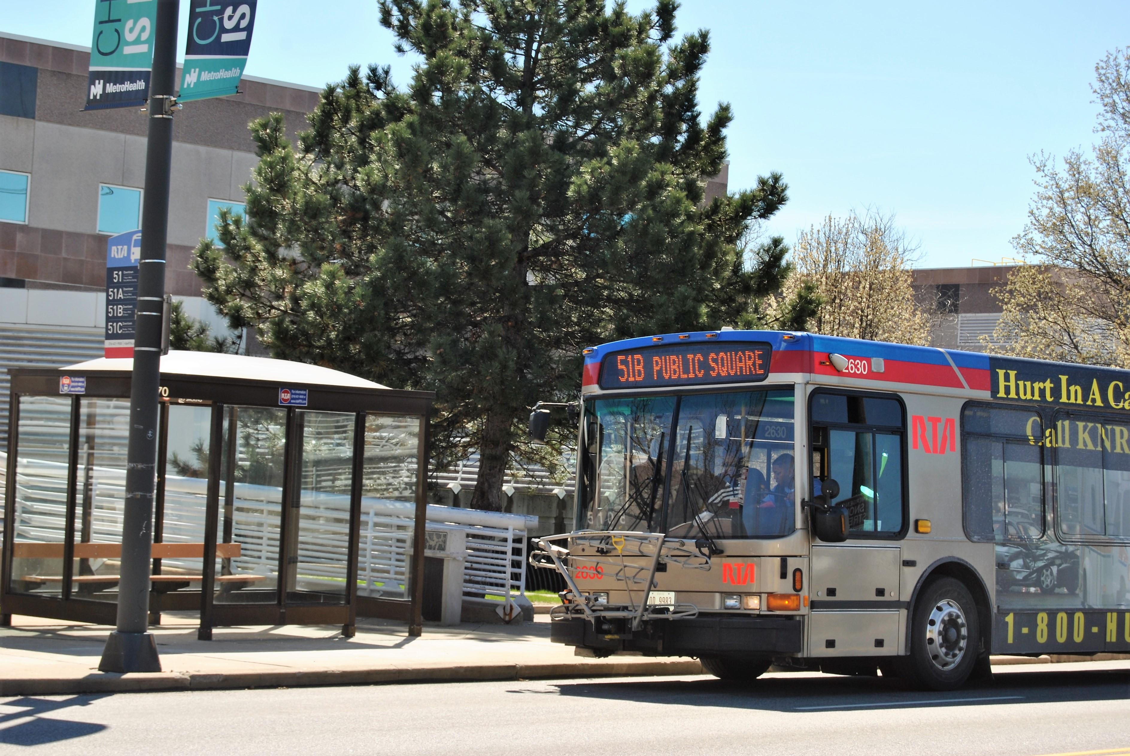 A 51 bus serves Metro Health on West 25th Street