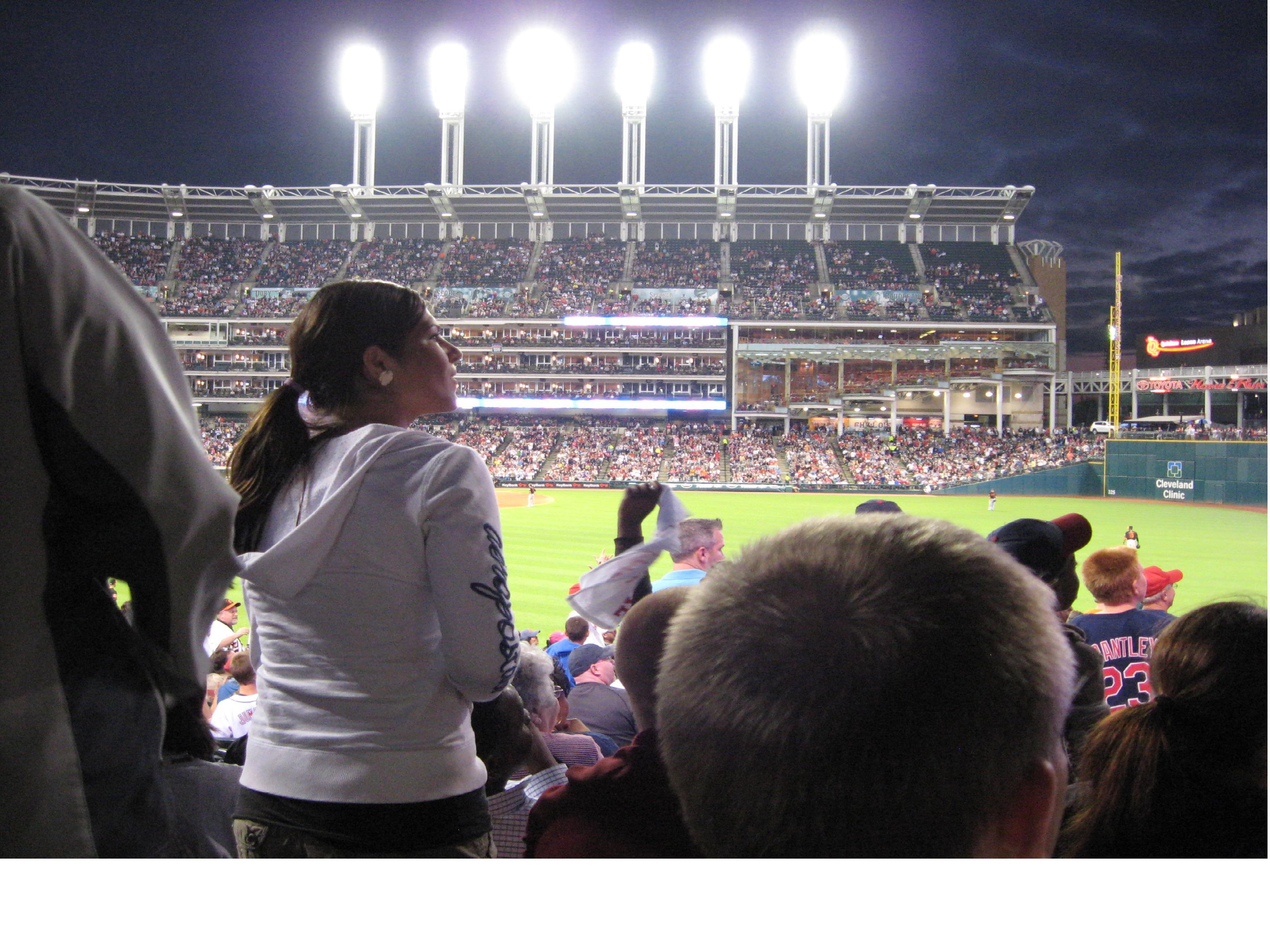 Fans cheer at Progressive Field