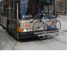 A bike on a bus rack